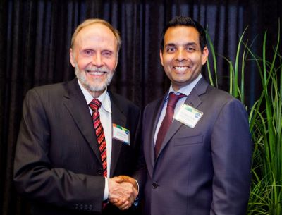 Dr. Samir Sinha (right) with Cliff Nordal, Chair, 2014 Board of Governors