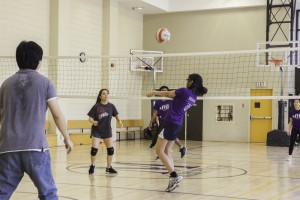 Michener student playing volleyball