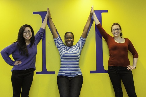 Michener students forming letter M with their arms