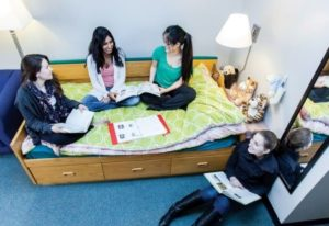 Few Students studying in student residence