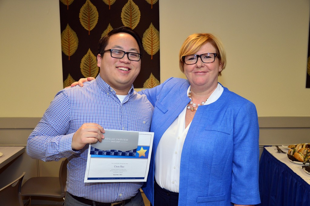 Michener Values in Action award winner Chris Hau (left; Clinical Coordinator at University Health Network, Michener Respiratory Therapy Alumni) with Karyn Roscoe, Manager of Student Enrolment