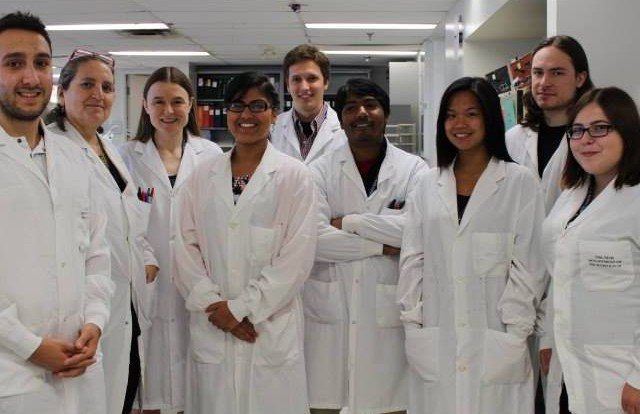 Danielle Nichole Grohn, far right, with the bacteriology research team at Mount Sinai Hospital in Toronto