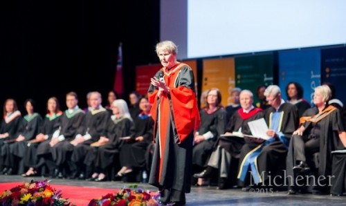 Dr. Roberta Bondar speaks to graduates at Michener's 2015 Convocation