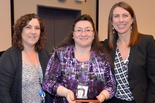 Rose DiLeo (centre) clinical coordinator at East General Hospital with radiological technology professor Bonnie Sands (left) and program chair Susan Weltz (right).