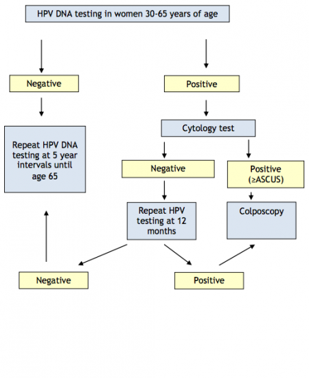 Proposed, but not yet implemented, algorithm for HPV primary screening with cytology triage. Image courtesy of Cancer Care Ontario.