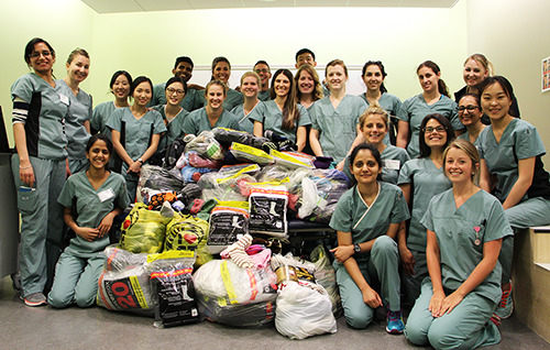 Chiropody class with socks collected for the 2016 Sock Drive