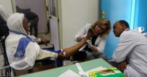 Laura Lee Kozody Centre) instructing health care professionals in Ethiopia on diabetic foot care.