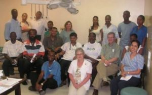 Laura Lee Kozody (back row, centre) with members of The Guyana Project team.
