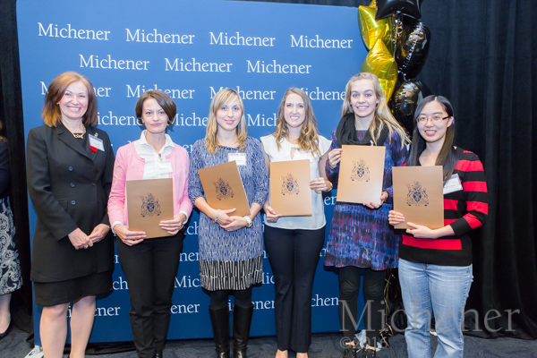 Iryna Kharchuk (second from L) with fellow Entrance Award recipients and Director, Student Enrolment & Registrar, Roni Srdic (L), at Michener Student Awards Ceremony in November. (Photo: Dao Shi)