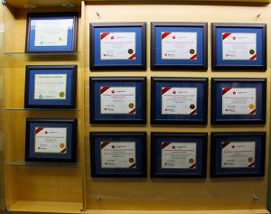 Michener accreditation certificates on display