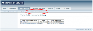 Screenshot - Michener Student Portal Health Services Uploaded Document History Page