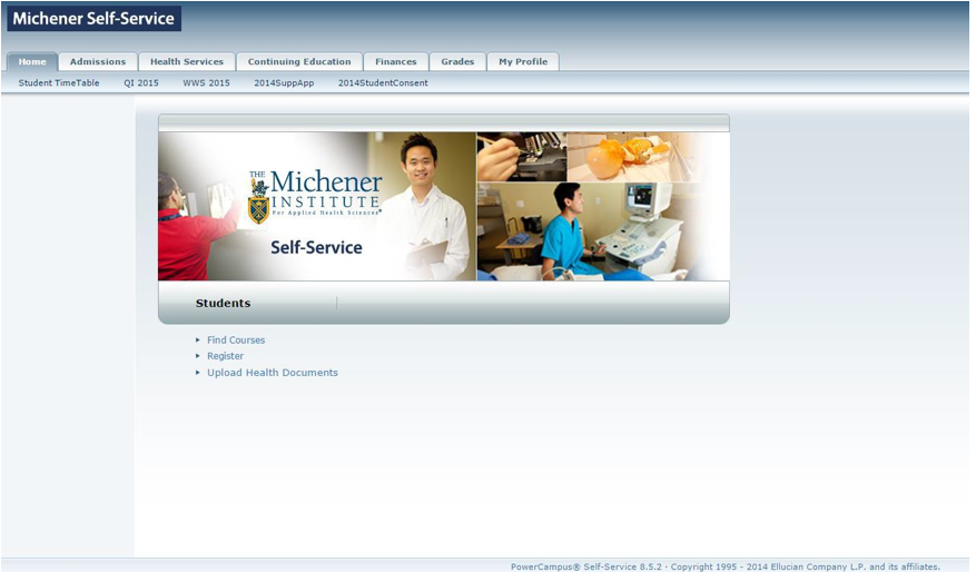 Michener Student Portal Homepage