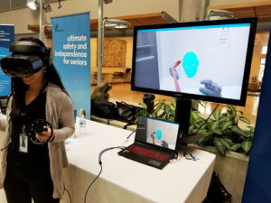 Virtual reality equipment at the Baycrest Innovation Showcase