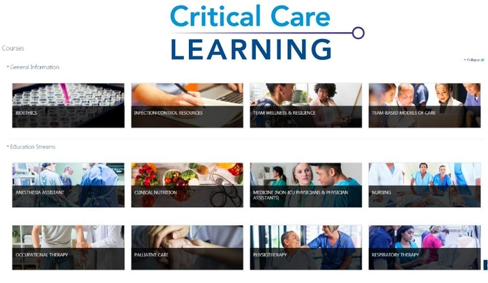 Screenshot of Critical Care Learning website