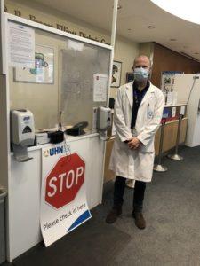 Brian Hodges at hospital entrance