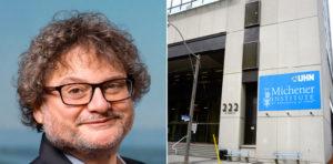 Headshot of Dr. Harvey Weingarten and Michener building
